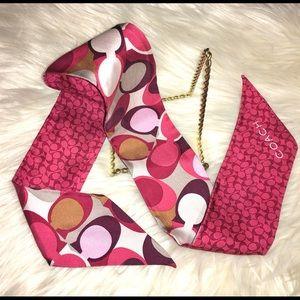 COACH silk ponytail scarf purse bow